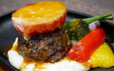トマトとモッツァレラチーズのハンバーグ