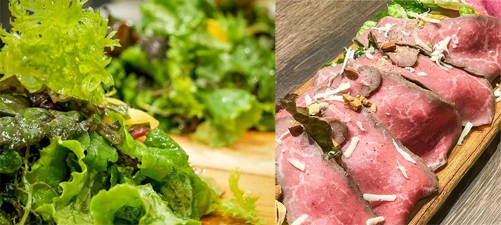 新鮮無農薬グリーンサラダとローストビースサラダ